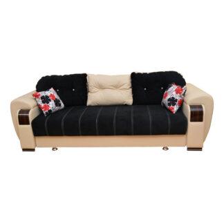 Canapea extensibilă Orbay neagră cu crem
