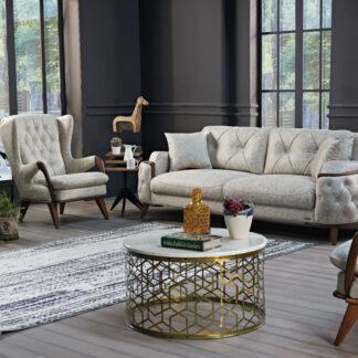 Set pentru hol Lukas format din canapea extensibilă și două fotolii fixe