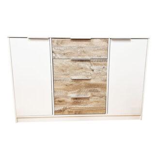 Comodă dormitor Elegant 11 culoare alb cu stejar