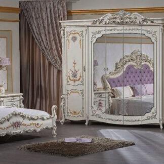 Dormitor Veneția Clasic bej cu mov și auriu format din 7 piese