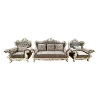 Set hol Prometei bej cu auriu format din canapea extensibilă și două fotolii fixe
