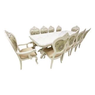 Set masă extensibilă cu 10 scaune Princess ivoire cu brațe
