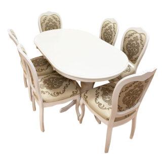 Set masă extensibilă Angelica cu 6 scaune Princess