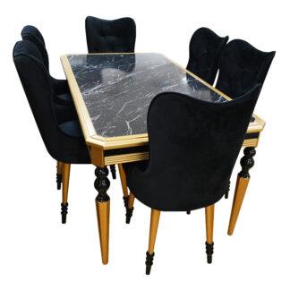 Set masă cu blat imitație de marmură și 6 scaune de catifea neagră