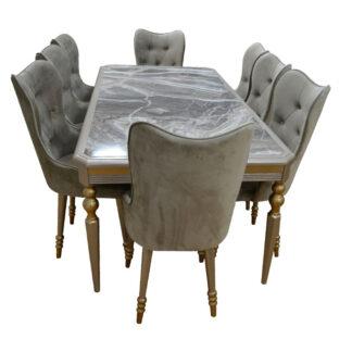 Set masă cu blat imitație de marmură și 8 scaune
